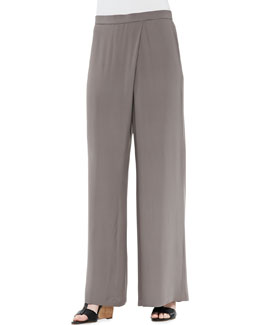 Eileen Fisher Silk Faux-Wrap Wide-Leg Pants, Taupe