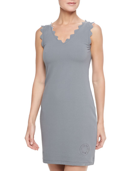 Amagansett Sleeveless Scallop Trim Dress, Dark Gray