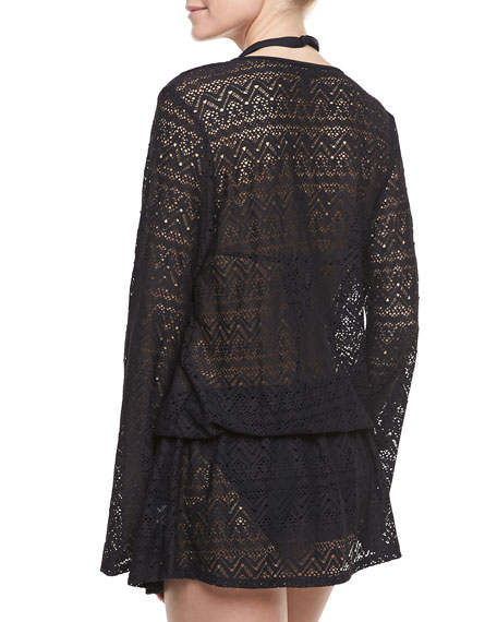 Cabana Lace Long-Sleeve Coverup Tunic