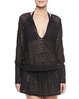 Athena Cabana Lace Long-Sleeve Coverup Tunic