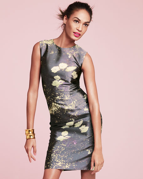 Sleeveless Print Slim Cocktail Dress, Spring Gray