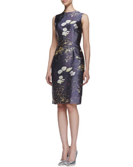 Kalinka Sleeveless Print Slim Cocktail Dress, Spring Gray