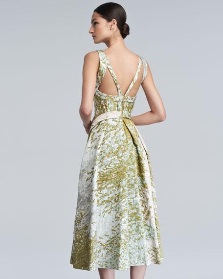 Textured Taffeta Dress, Pearl/Waterlily