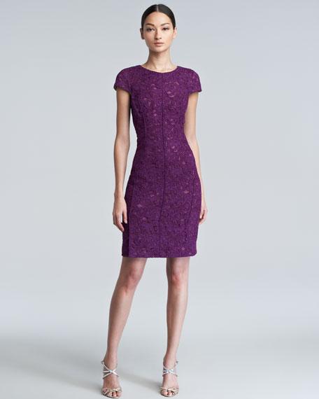 Crewneck Bonded Lace Dress