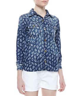 Current/Elliott The Perfect Paisley-Print Shirt