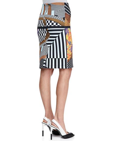 Lautner Land Print Neoprene Skirt