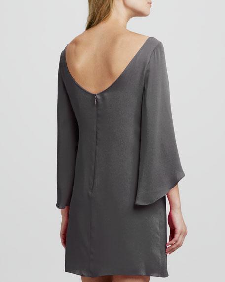 Butterfly-Sleeve Short Shift Dress