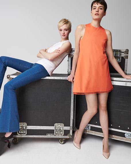 Twist-Back Cotton Shift Dress