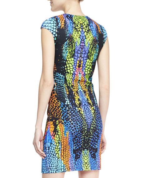 Optic Crocodile-Print Cap-Sleeve Dress, Blue/Green/Multi