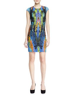 McQ Alexander McQueen Optic Crocodile-Print Cap-Sleeve Dress, Blue/Green/Multi