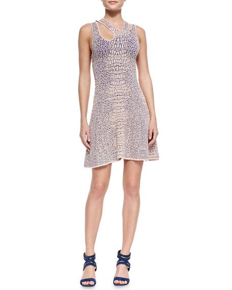 Flirty Crocodile-Knit Dress, Rose/Ultramarine