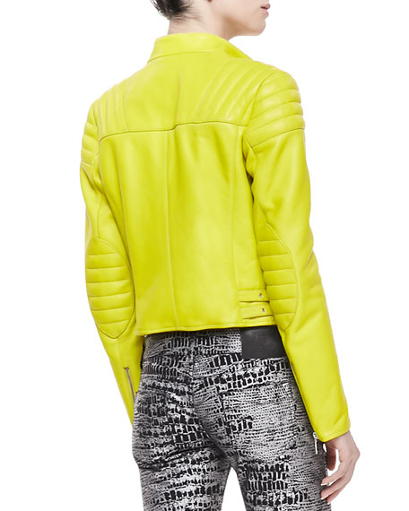 Neon Leather Zip Biker Jacket, Lime Green