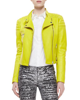 McQ Alexander McQueen Neon Leather Zip Biker Jacket, Lime Green