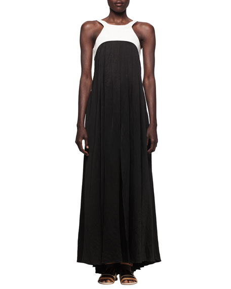 Linen-Bodice Jersey Long Dress with Harness