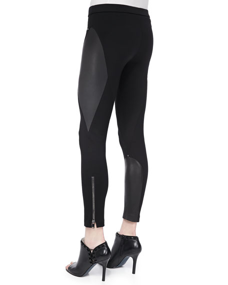 Ponte & Leather Ankle-Zip Leggings