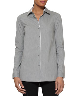 Lafayette 148 New York Cordelia Stretch Cotton Blouse