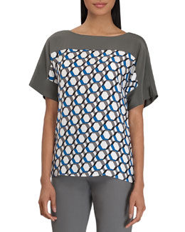 Lafayette 148 New York Maryanne Hexagon-Print Top