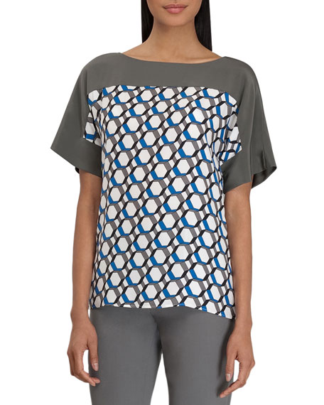 Maryanne Hexagon-Print Top