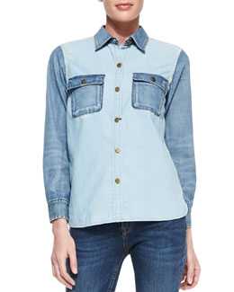 D-ID Denim Amazone Two-Tone Chambray Shirt