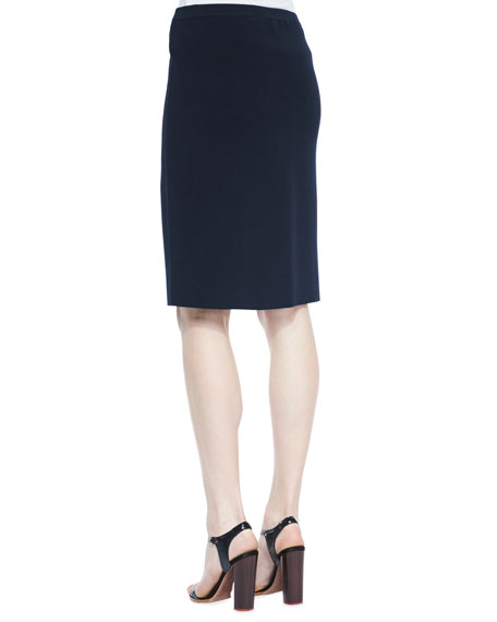 Silk-Cotton Straight Skirt, Midnight