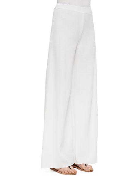 Misook Fit & Knit Palazzo Pants, White, Women's
