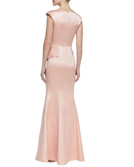 Wren Plated-Crepe Gown