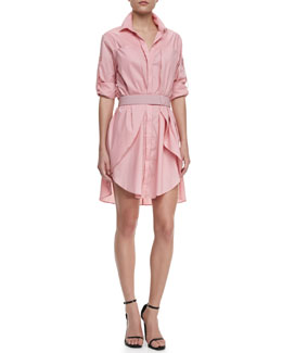 Halston Heritage Long-Sleeve Voile Shirtdress