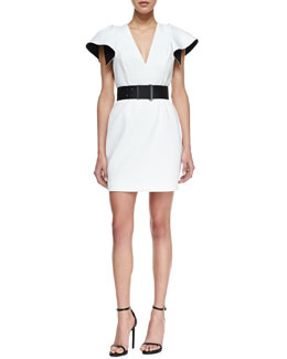 Robert Rodriguez Neoprene V-Neck Ruffled-Back Dress