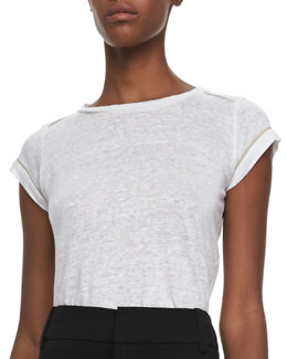 Alice + Olivia Tran Piped-Trim Tee, White