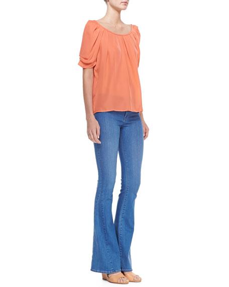 Aqueous Mid-Rise Flare Jeans