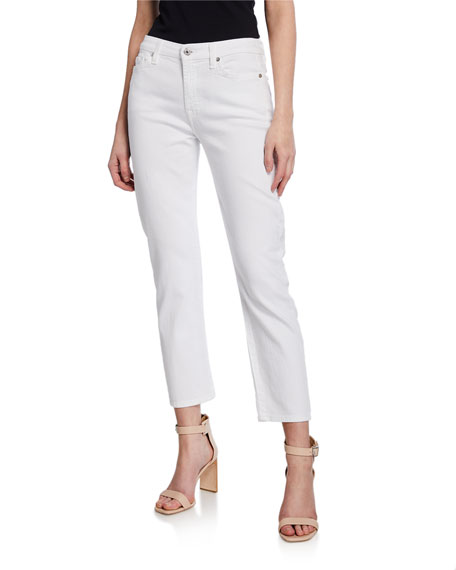 Kimmie Straight-Leg Cropped Jeans, Clean White