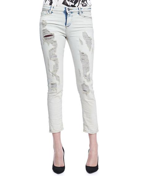Terry Rip & Repair Slim Jeans, Clay