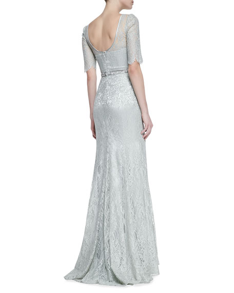 3/4-Sleeve Lace Gown with Beaded Waist, Celadon