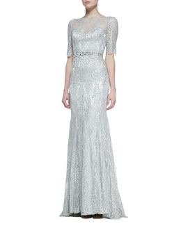 Theia 3/4-Sleeve Lace Gown with Beaded Waist, Celadon