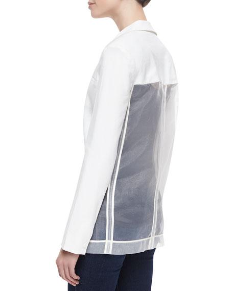 Sharman Sheer-Back Long Blazer