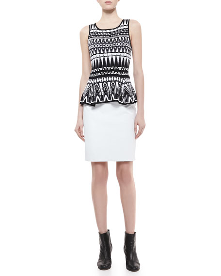 Snake-Print Leather Pencil Skirt