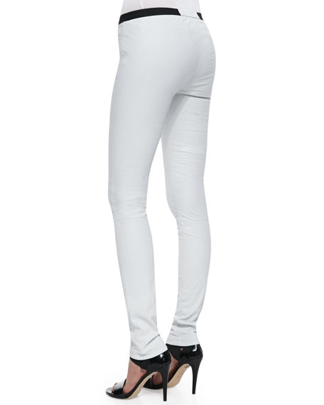 Contrast Leather Leggings, White/Black