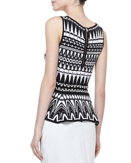 Graphic-Print Shell with Flared Waist, Black/White