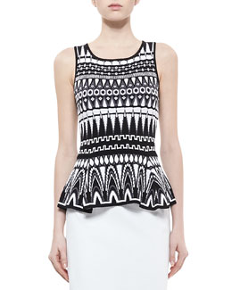 Milly Graphic-Print Shell with Flared Waist, Black/White