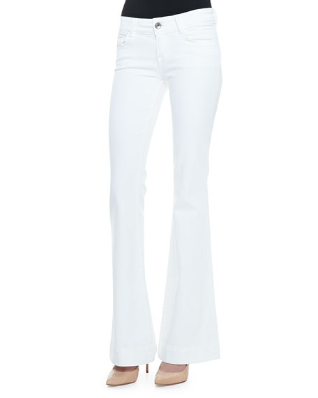 J Brand Jeans Love Story Flared Jeans, Blanc
