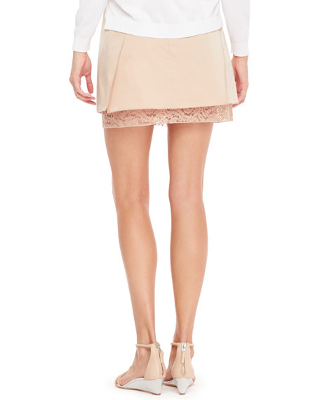 Asymmetric Layered Skirt, Nude