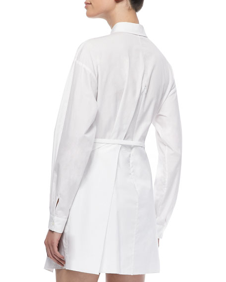 Long-Sleeve Collared Shirtdress, White