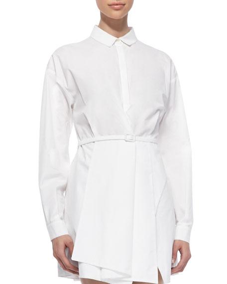 Long-Sleeve Collared Shirtdress, White