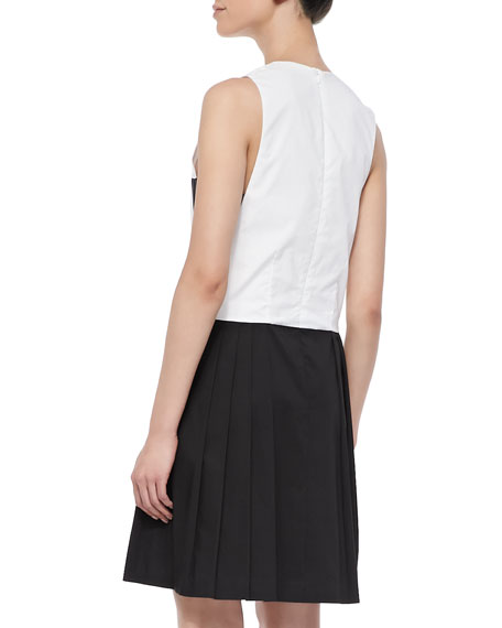 Bicolor Pleated-Skirt Dress