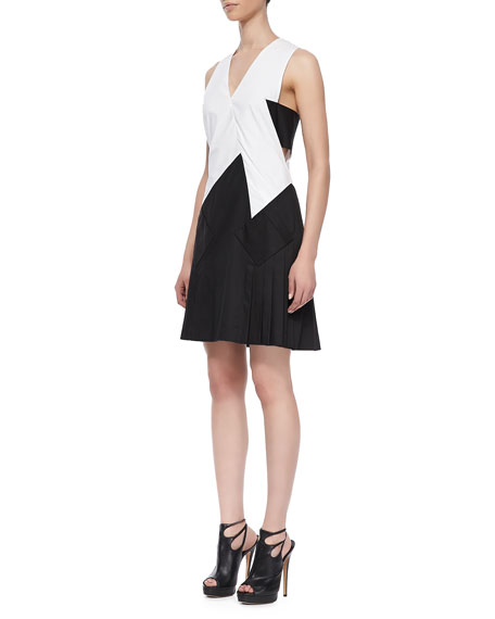 Bicolor Pleated-Skirt Dress
