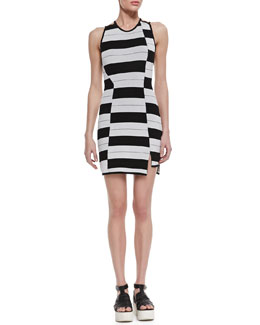Thakoon Addition Staggered Stripe Dress, Black/White