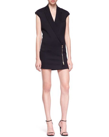 Zip-Front Blazer Dress, Midnight