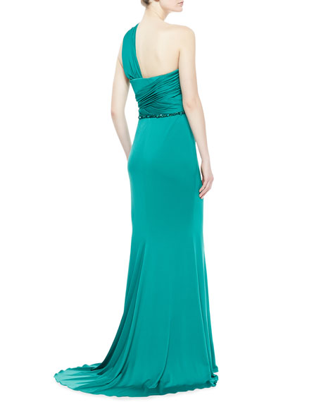 One-Shoulder Draped Gown, Aquamarine