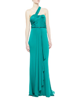 Badgley Mischka One-Shoulder Draped Gown, Aquamarine