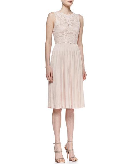 Sleeveless Floral & Pleated Skirt Cocktail Dress